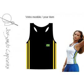 """Débardeur femme """"Jogando Capoeira"""" ©  Mariposa duas linhas noir/jaune"""