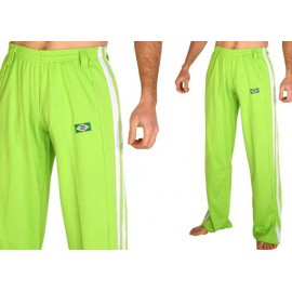Pantalon de capoeira- Abada Jogando capoeira - duas linhas citron vert & blanc