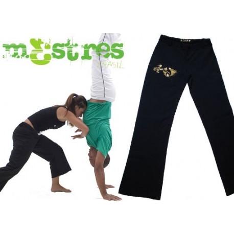 "Pantalon de capoeira ""Mestres"" femme - Iniciando Dourado - Noir/doré"