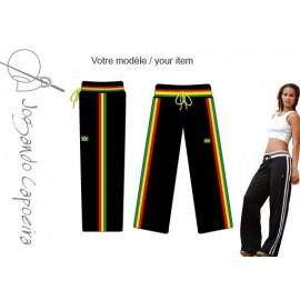 Pantalon de capoeira noir Afro Malandragem pour femme - Jogando Capoeira