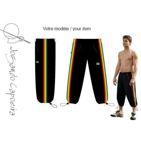 """Pantalon de capoeira 3/4 """"Jogando Capoeira"""" Voador afro noir"""
