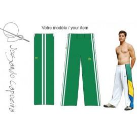"""Pantalon  de capoeira - Abada Jogando Capoeira """" Duas linhas"""" vert&blanc"""