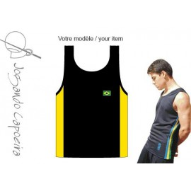 Black and yellow tank top for men Jogando Banda Capoeira