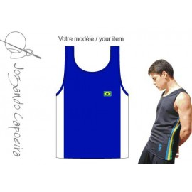Blue and white afro tank top for men Jogando Banda Capoeira