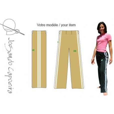 """Pantalon de Capoeira JC - Feminil """"Duas linhas"""" ocre&blanc"""