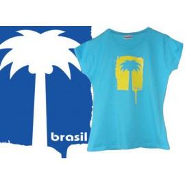 Tshirt Cobracoral Brasil - Palmera fille turquoise