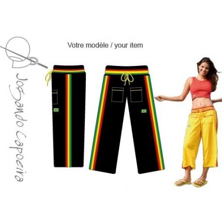 """Pantalon  de capoeira """"Jogando Capoeira"""" - Malandragem 3/4 afro noir"""