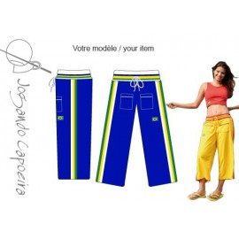Blue, white and yellow 3/4 capoeira pants for women - Malandragem