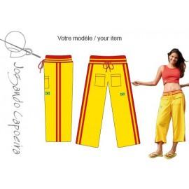 Pantalon de capoeira jaune et rouge Malandragem pour femme - Jogando Capoeira