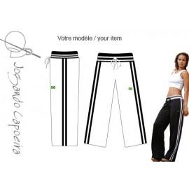 Pantalon de capoeira Jogando Capoeira © - Malandragem duas linhas blanc/noir