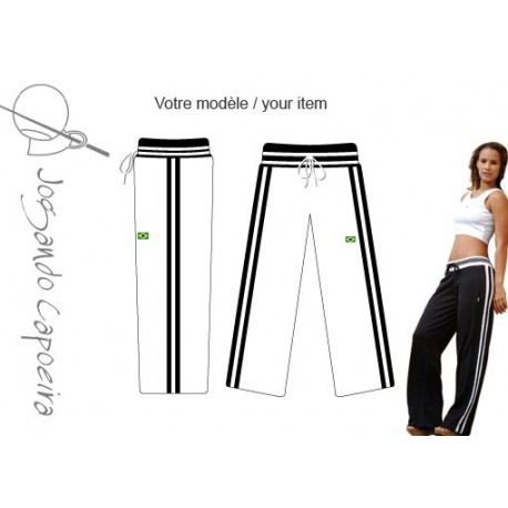 """Pantalon de capoeira """"JC"""" - Malandragem duas linhas blanc/noir"""