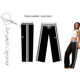 """Pantalon de capoeira """"JC"""" - Malandragem duas linhas noir/blanc"""