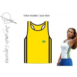 """Débardeur femme """"Jogando Capoeira"""" ©  Mariposa duas linhas jaune/noir"""