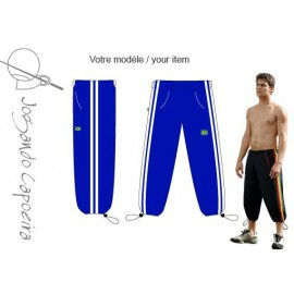 Blue and white 3/4 capoeira pants - Voador