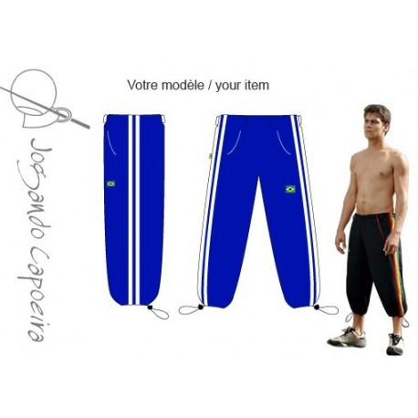 """Pantalon de capoeira 3/4  JC """" Voador duas linhas bleu/blanc"""
