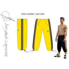 Pantalon de capoeira jaune et noir 3/4 Voador duas linhas