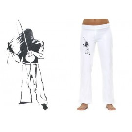 Pantalon  de capoeira femme blanc tocando Mestres Brasil