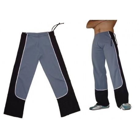 Pantalon de capoeira Marimbondo Sinha Ferradura ao Contrario Gris et noir