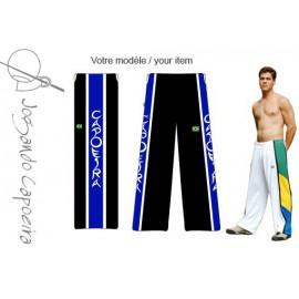 """Pantalon de capoeira - Abada JC """" Banda capoeira"""" noir&bleu/blanc"""