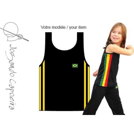 Black and yellow tank top capoeira for children - Duas linhas