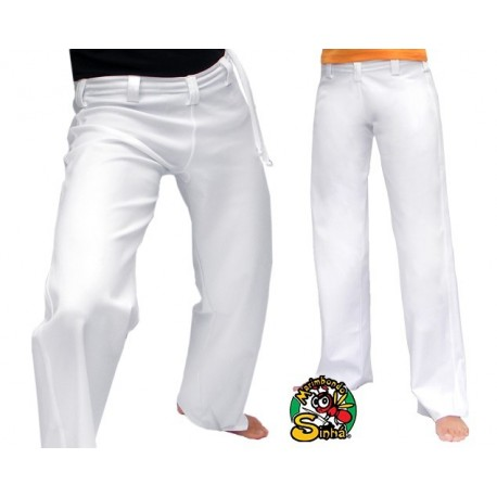 Pantalon de capoeira Marimbondo Sinha Abada blanc