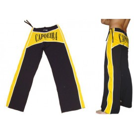 Black and yellow capoeira pants Dibum Marimbondo Sinha